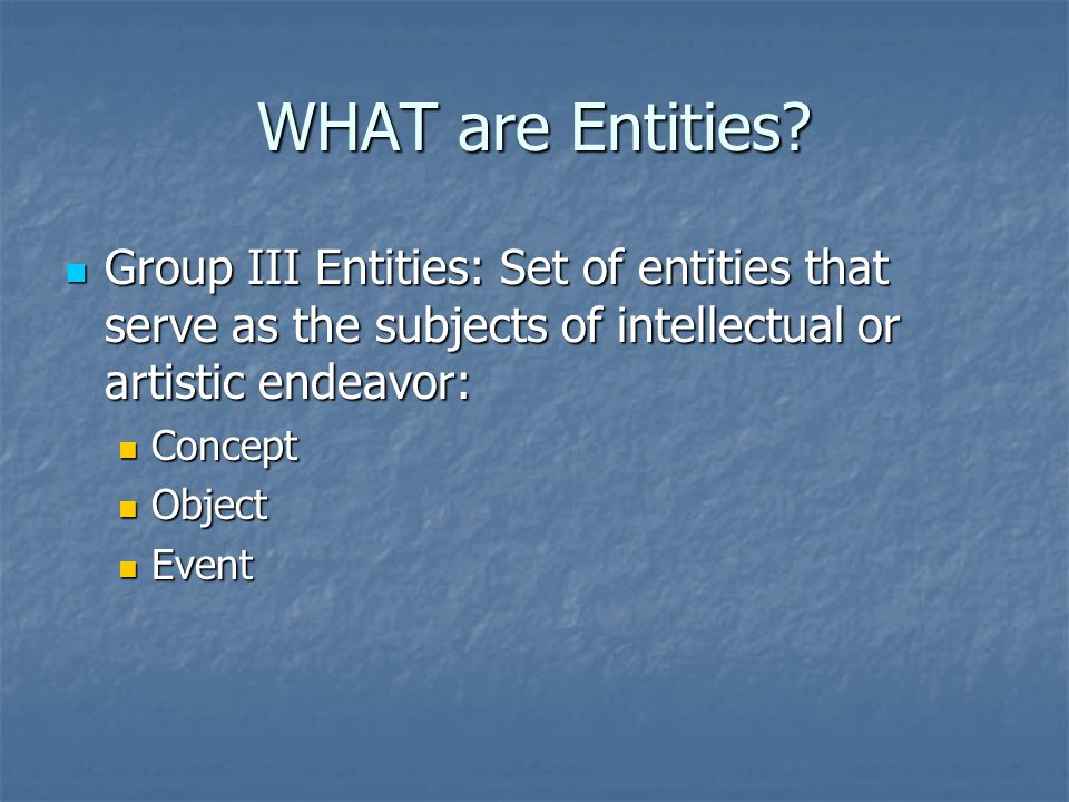 WHAT are Entities.