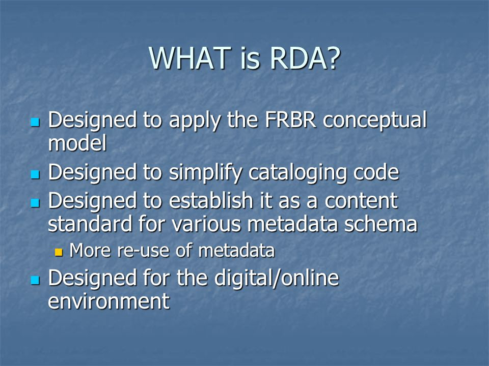 WHAT is RDA.