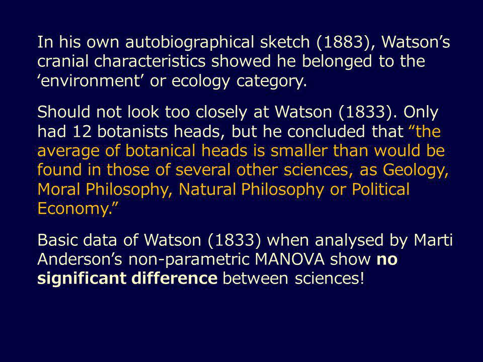 In his own autobiographical sketch (1883), Watson's cranial characteristics showed he belonged to the 'environment' or ecology category.