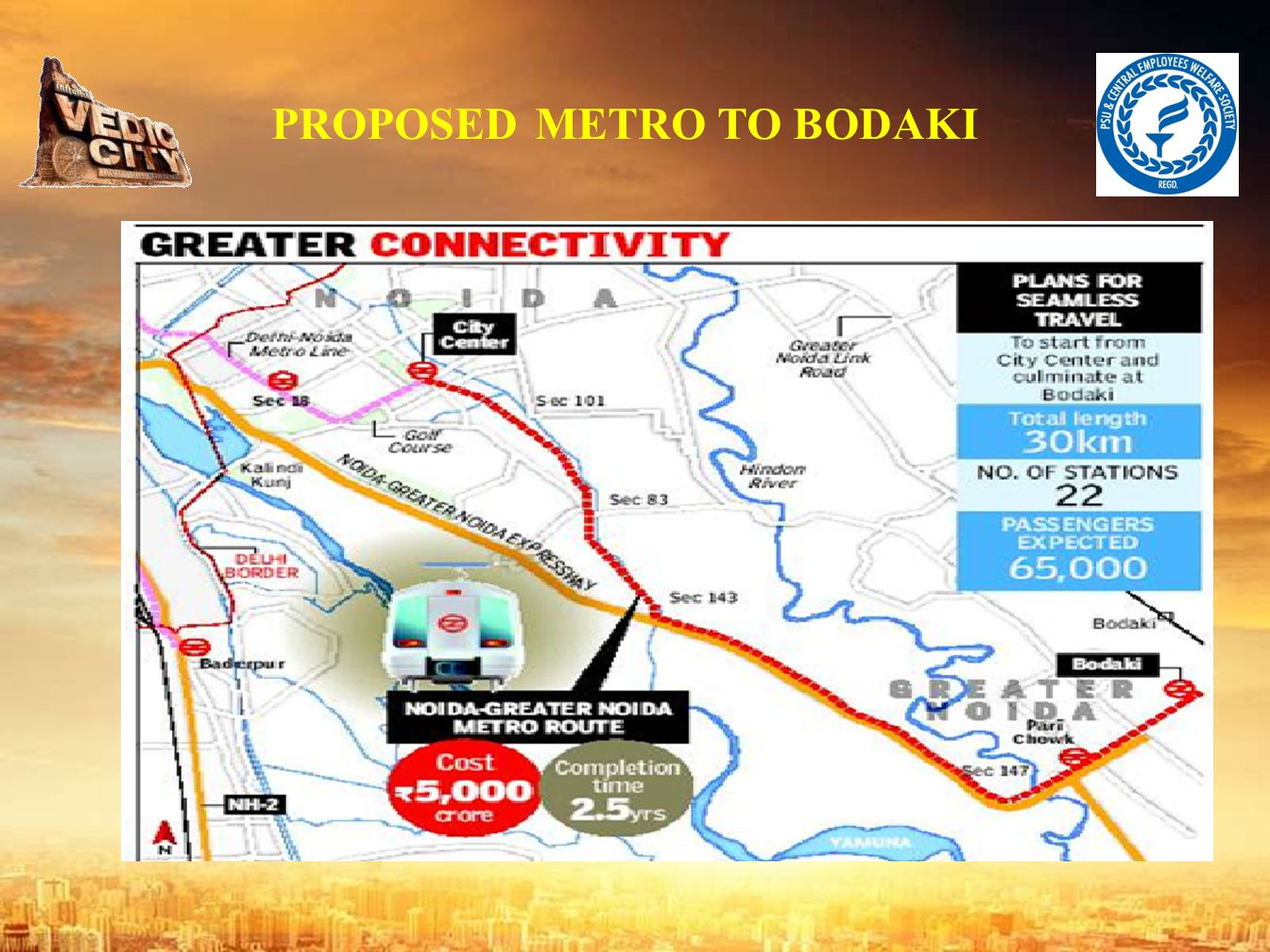 ABOUT THEVEDICCITY Area : 3605 acres Location : Near Greater Noida. Access to G T Road ( NH-91). Located in close proximity of Noida and Gr. Noida, th