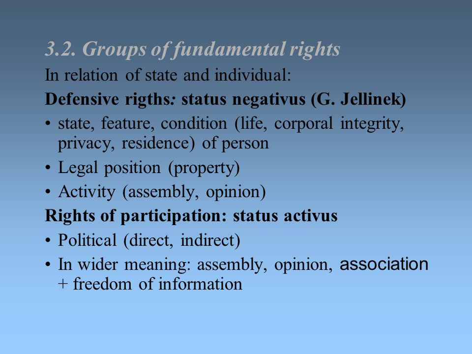 3.2. Groups of fundamental rights In relation of state and individual: Defensive rigths: status negativus (G. Jellinek) state, feature, condition (lif