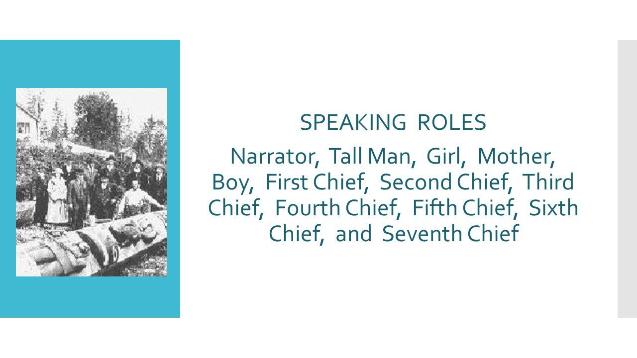 SPEAKING ROLES Narrator, Tall Man, Girl, Mother, Boy, First Chief, Second Chief, Third Chief, Fourth Chief, Fifth Chief, Sixth Chief, and Seventh Chief