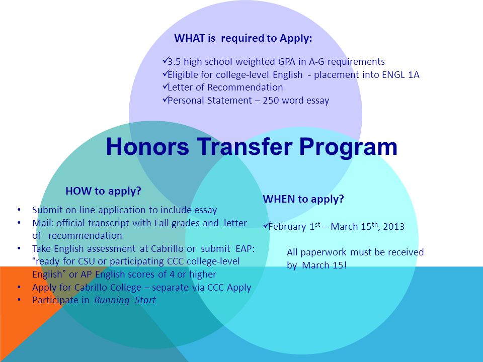 WHAT is required to Apply: Honors Transfer Program 3.5 high school weighted GPA in A-G requirements Eligible for college-level English - placement into ENGL 1A Letter of Recommendation Personal Statement – 250 word essay HOW to apply.
