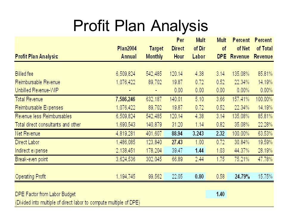 Profit Plan Analysis