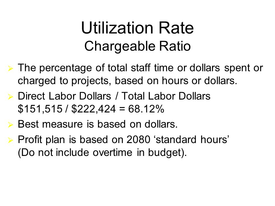 15 Utilization Rate Chargeable Ratio  The percentage of total staff time or dollars spent or charged to projects, based on hours or dollars.