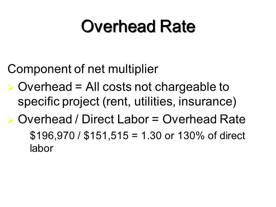 19 Overhead Rate Component of net multiplier  Overhead = All costs not chargeable to specific project (rent, utilities, insurance)  Overhead / Direct Labor = Overhead Rate  $196,970 / $151,515 = 1.30 or 130% of direct labor