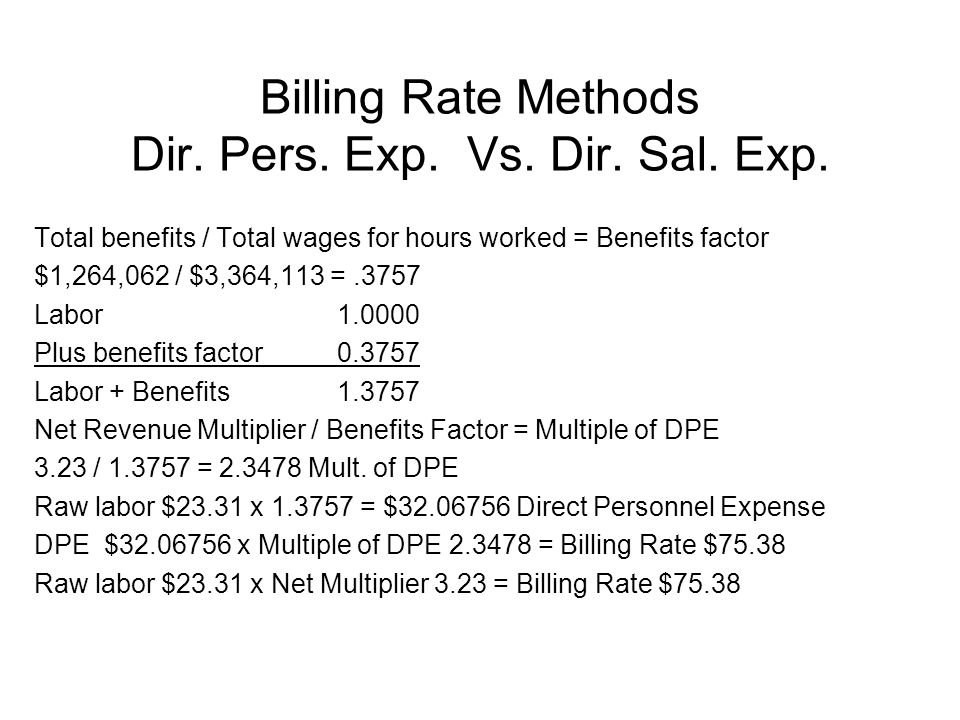 22 Billing Rate Methods Dir. Pers. Exp. Vs. Dir.