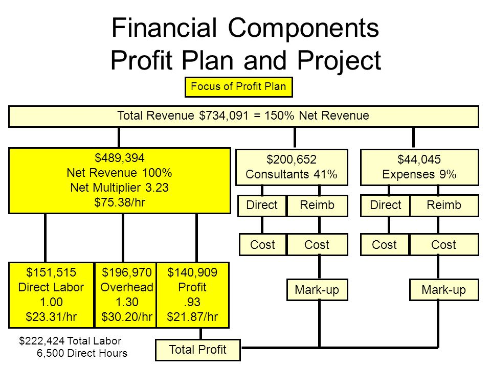 Financial Components Profit Plan and Project Total Revenue $734,091 = 150% Net Revenue $489,394 Net Revenue 100% Net Multiplier 3.23 $75.38/hr $200,652 Consultants 41% $44,045 Expenses 9% DirectReimb DirectReimb Cost Mark-up Cost Mark-up $151,515 Direct Labor 1.00 $23.31/hr $196,970 Overhead 1.30 $30.20/hr $140,909 Profit.93 $21.87/hr Total Profit Focus of Profit Plan 6,500 Direct Hours $222,424 Total Labor