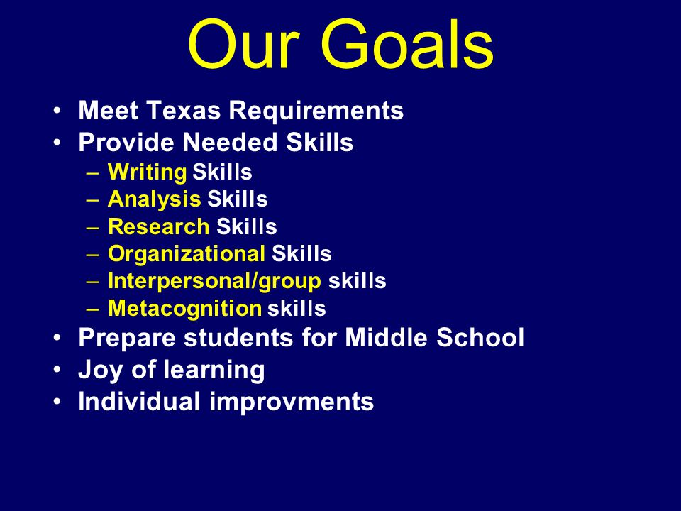 Our Goals Meet Texas Requirements Provide Needed Skills –Writing Skills –Analysis Skills –Research Skills –Organizational Skills –Interpersonal/group skills –Metacognition skills Prepare students for Middle School Joy of learning Individual improvments