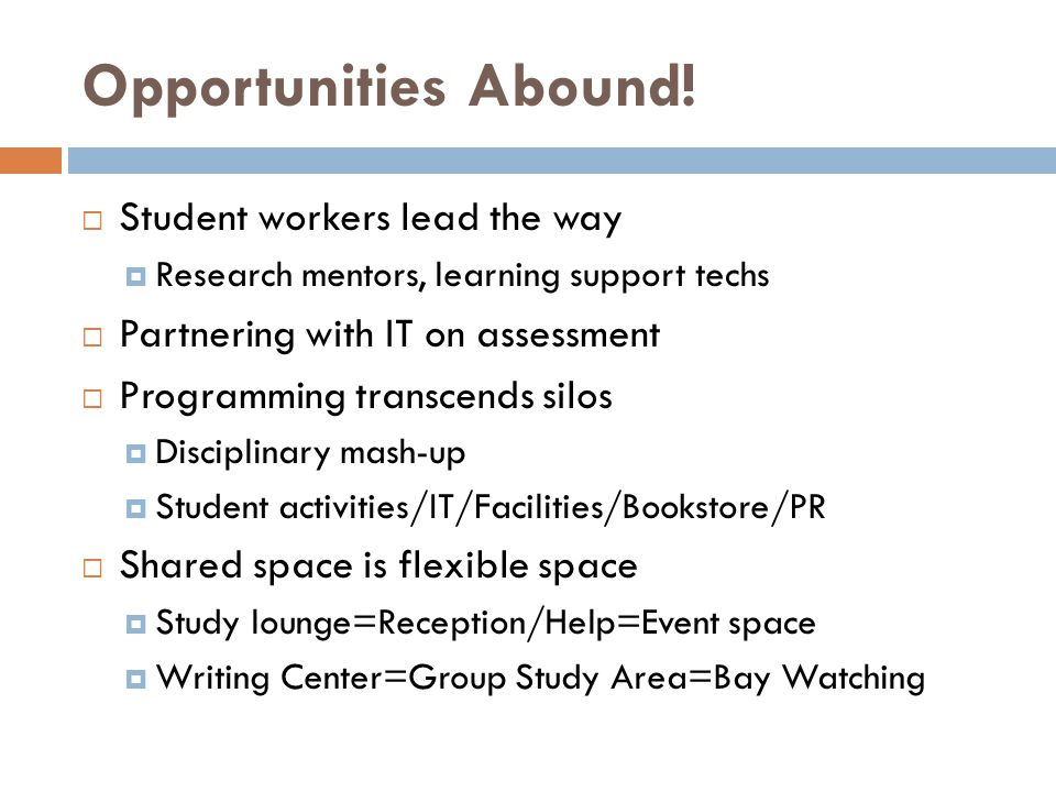 Opportunities Abound!  Student workers lead the way  Research mentors, learning support techs  Partnering with IT on assessment  Programming trans