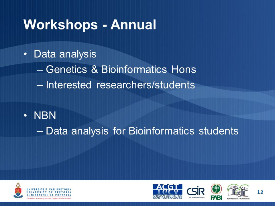 Workshops - Annual Data analysis –Genetics & Bioinformatics Hons –Interested researchers/students NBN –Data analysis for Bioinformatics students 12
