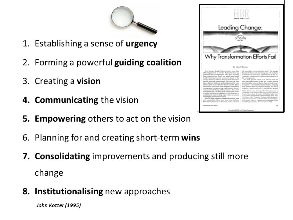 1.Establishing a sense of urgency 2.Forming a powerful guiding coalition 3.Creating a vision 4.Communicating the vision 5.Empowering others to act on the vision 6.Planning for and creating short-term wins 7.Consolidating improvements and producing still more change 8.Institutionalising new approaches John Kotter (1995)
