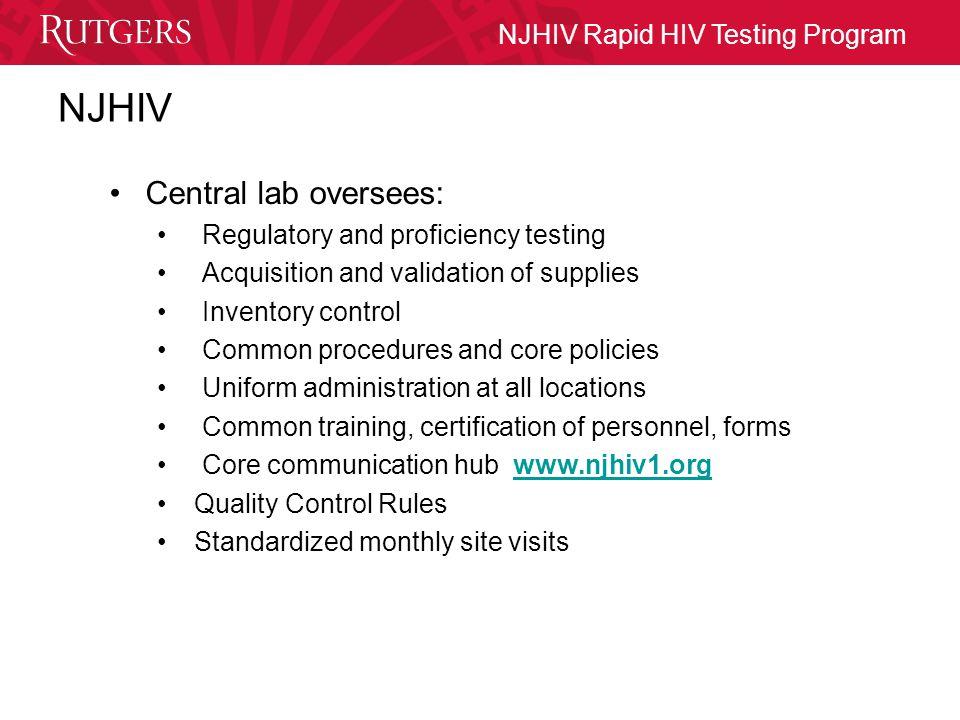 NJHIV Rapid HIV Testing Program Thanks To: RWJMS Evan Cadoff, MDEvan Cadoff, MD Eugene Martin, Ph.D.Eugene Martin, Ph.D.