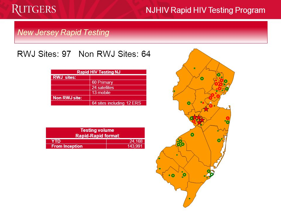NJHIV Rapid HIV Testing Program Mobile HIV Counselor/Tester DAS participating sites WILL NEED to have a Professional Services Agreement (PSA) signed with RWJMS WILL NEED to have a formal agreement with a treatment center for referral of positive patients to care WILL NEED safe and secure location for testing, with adequate privacy for confidentiality WILL NEED to assist in scheduling depending on individual census, hours and days of operation WILL NEED to maintain records on site WILL NEED to complete NJ SAMS and SAMHSA reports