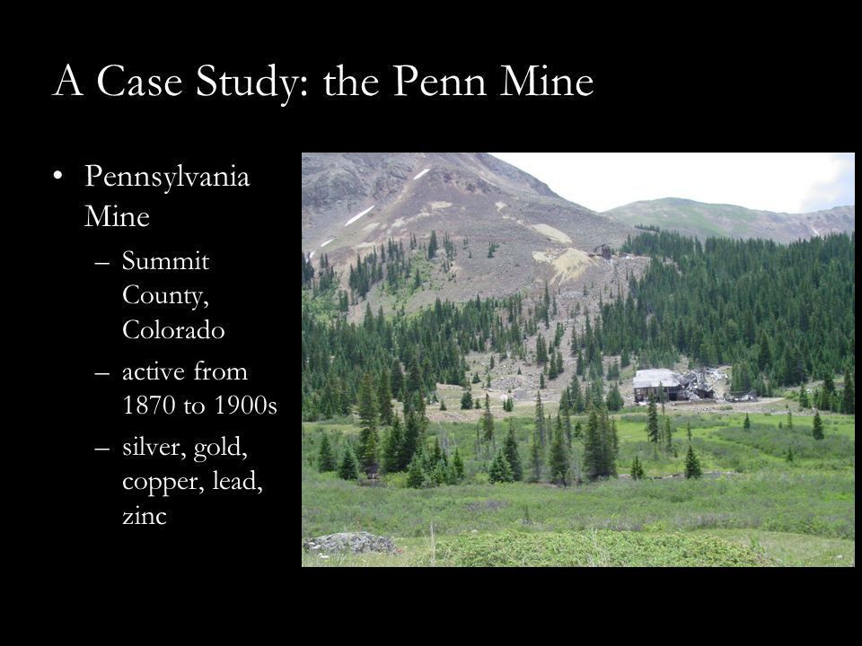 A Case Study: the Penn Mine Pennsylvania Mine –Summit County, Colorado –active from 1870 to 1900s –silver, gold, copper, lead, zinc