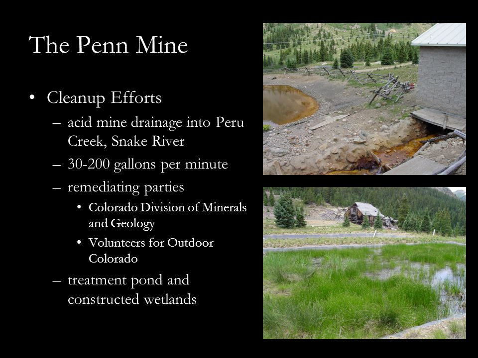 The Penn Mine Cleanup Efforts –acid mine drainage into Peru Creek, Snake River –30-200 gallons per minute –remediating parties Colorado Division of Mi