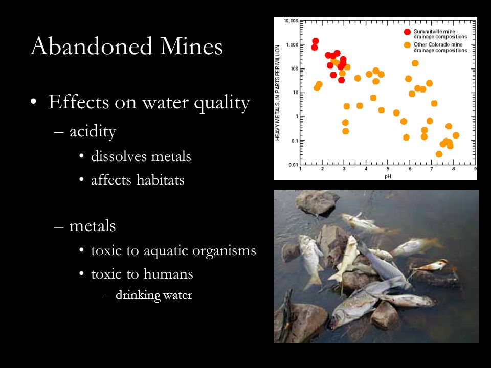Abandoned Mines Effects on water quality –acidity dissolves metals affects habitats –metals toxic to aquatic organisms toxic to humans –drinking water