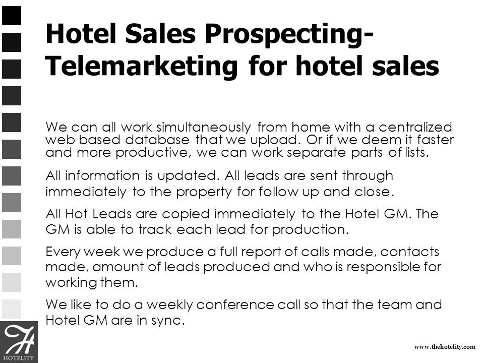 www.thehotelity.com Hotel Sales Prospecting- Telemarketing for hotel sales We can all work simultaneously from home with a centralized web based datab