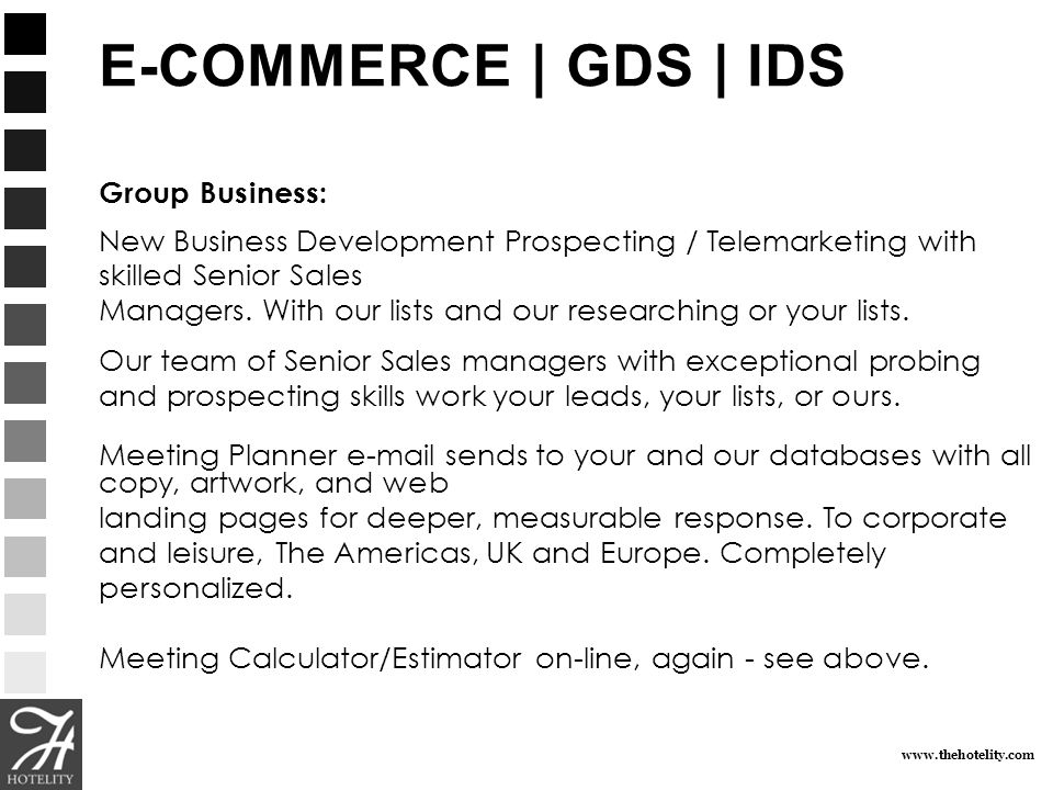 www.thehotelity.com E-COMMERCE | GDS | IDS Group Group Business: New Business Development Prospecting / Telemarketing with skilled Senior Sales Manage