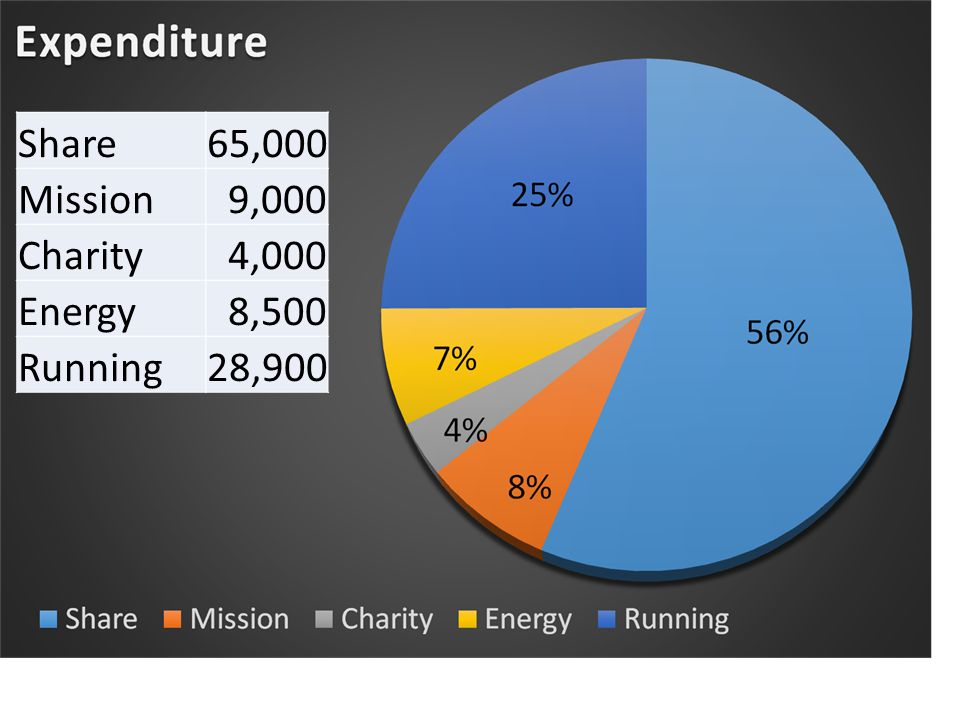 Share65,000 Mission9,000 Charity4,000 Energy8,500 Running28,900