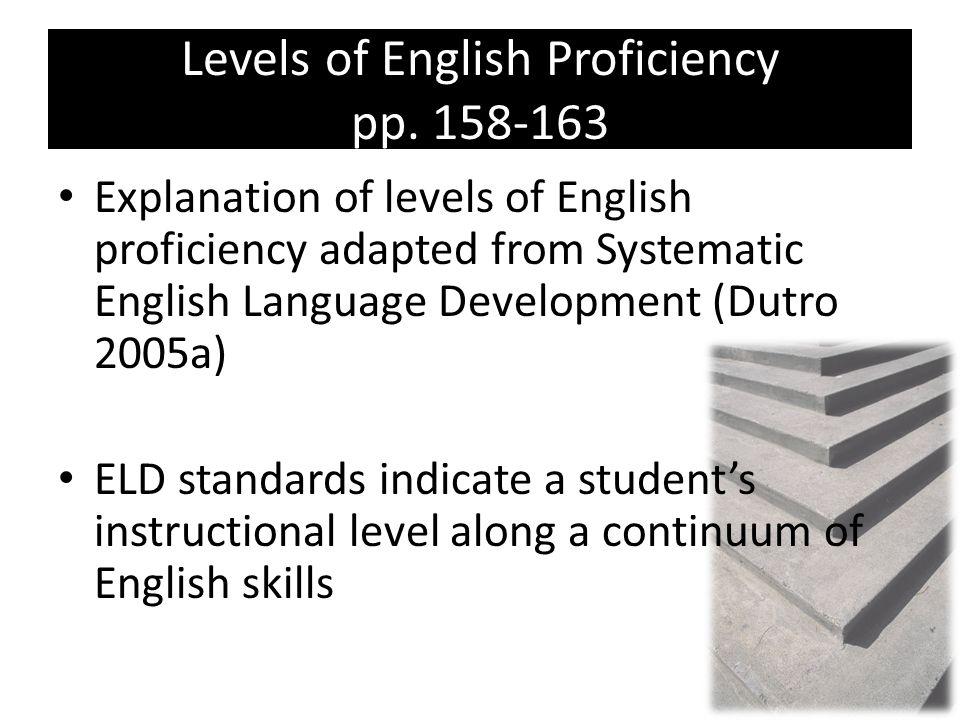 Levels of English Proficiency pp. 158-163 Explanation of levels of English proficiency adapted from Systematic English Language Development (Dutro 200