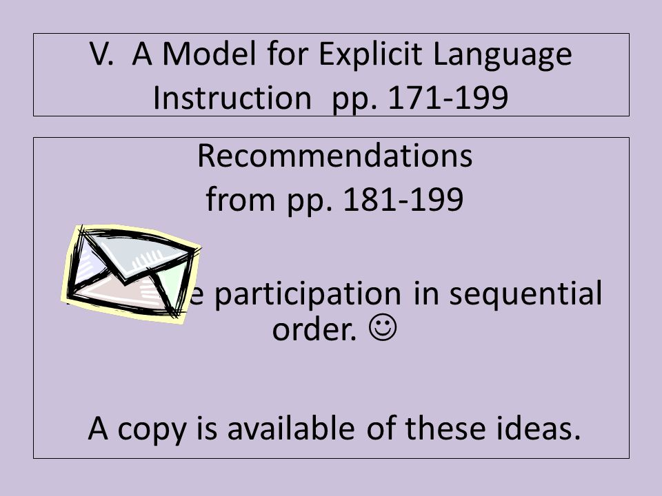 Recommendations from pp. 181-199 Audience participation in sequential order. A copy is available of these ideas. V. A Model for Explicit Language Inst