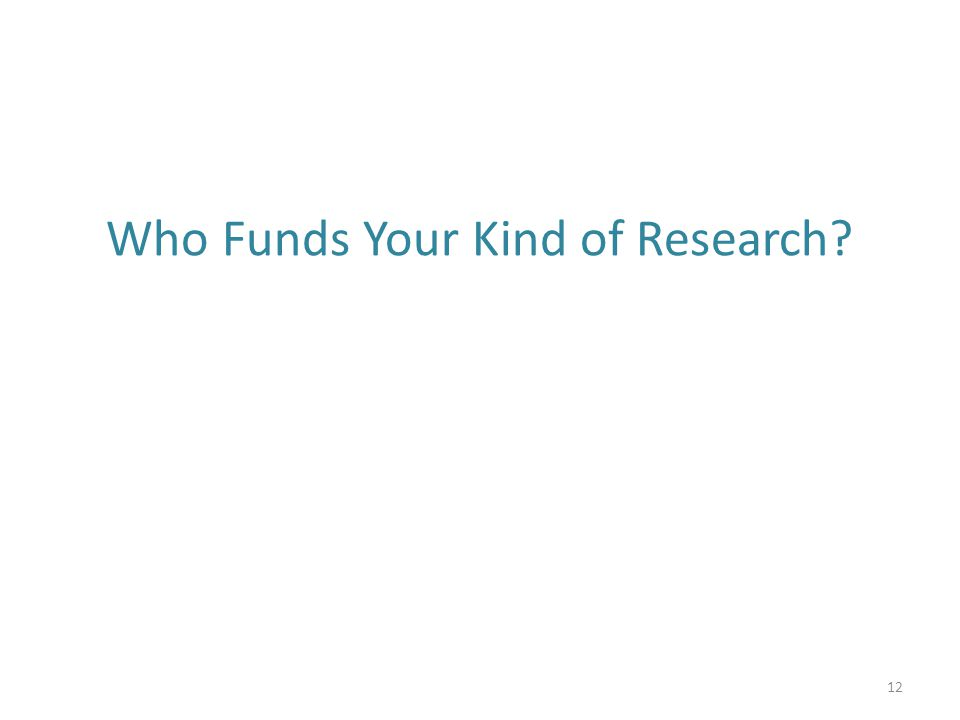 Who Funds Your Kind of Research? 12