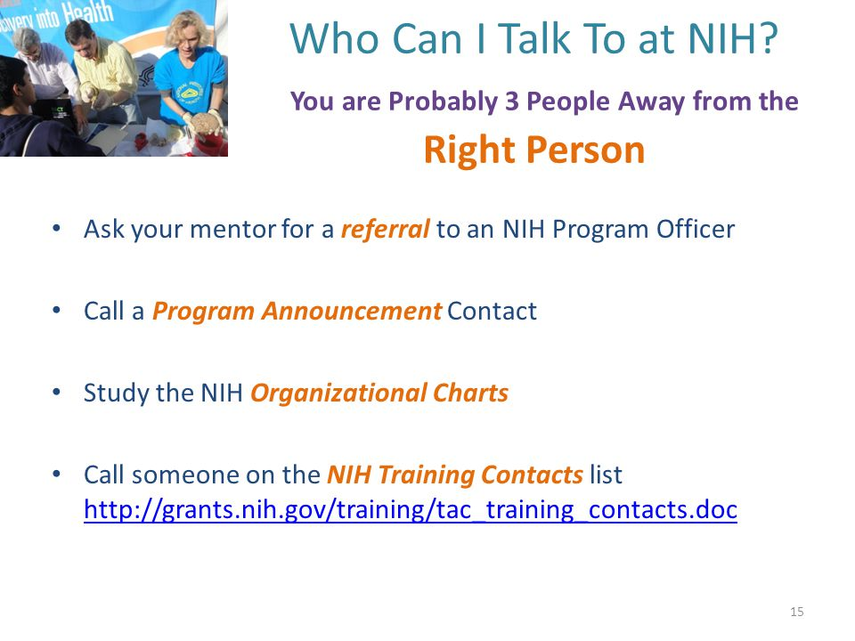 Who Can I Talk To at NIH.
