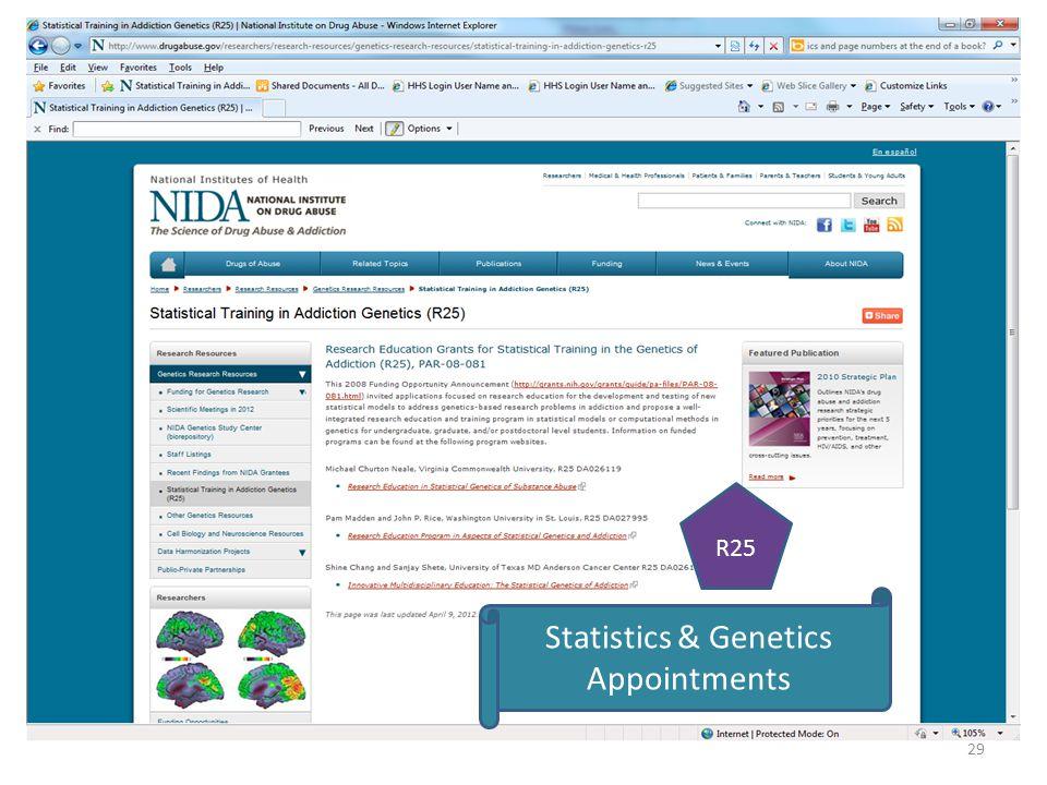 29 Statistics & Genetics Appointments R25