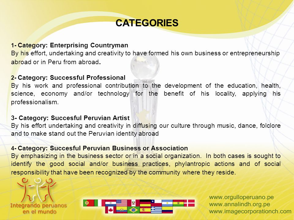 CATEGORIES 1- Category: Enterprising Countryman By his effort, undertaking and creativity to have formed his own business or entrepreneurship abroad o