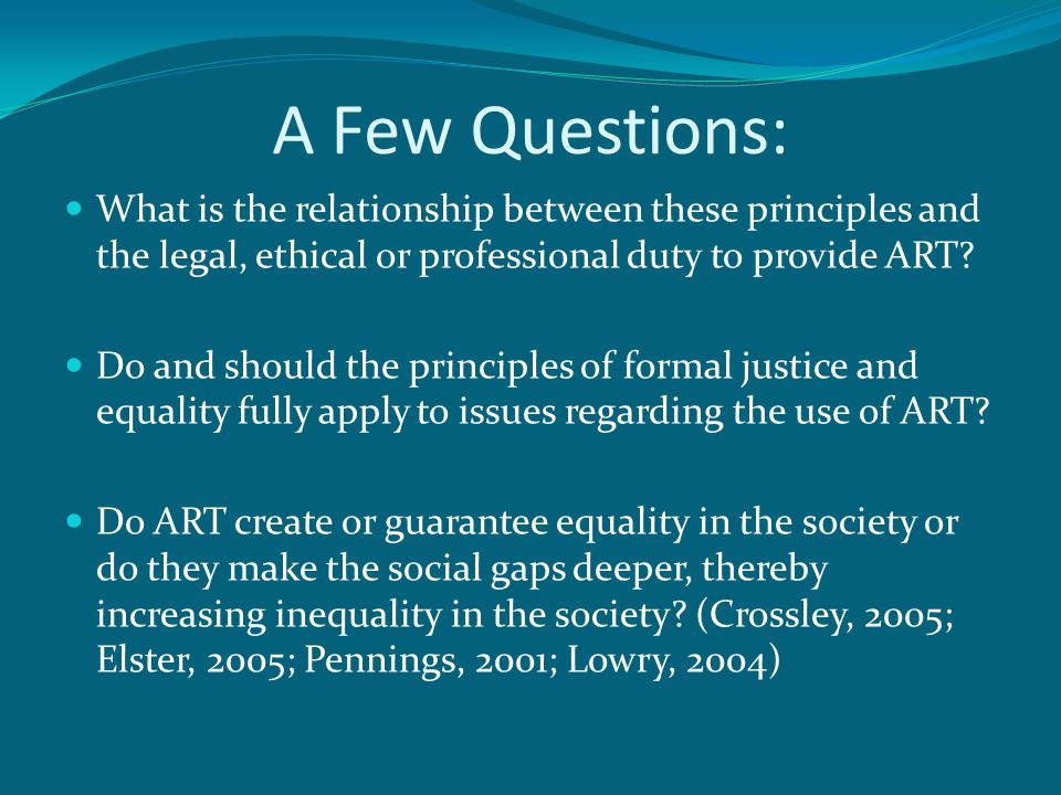 A Few Questions: What is the relationship between these principles and the legal, ethical or professional duty to provide ART.