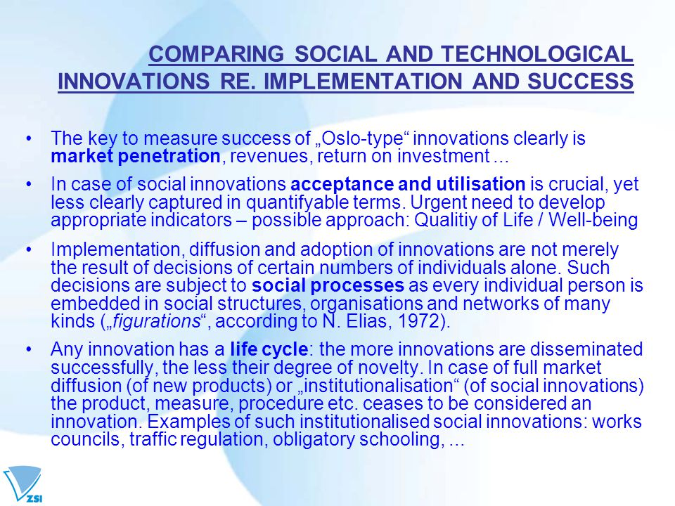 COMPARING SOCIAL AND TECHNOLOGICAL INNOVATIONS RE.