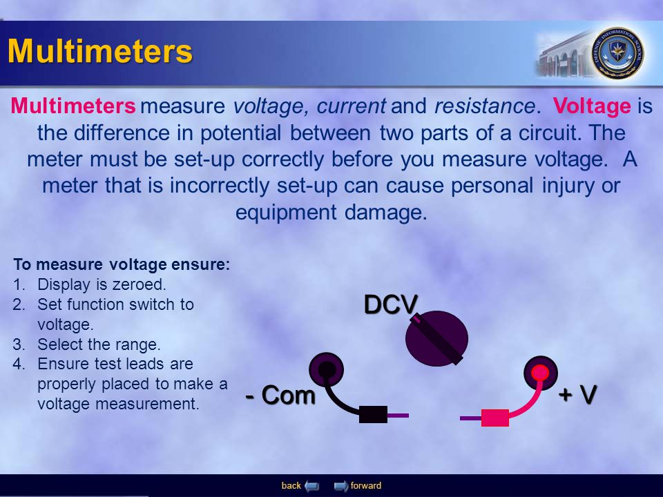- Com + V DCV Multimeters measure voltage, current and resistance. Voltage is the difference in potential between two parts of a circuit. The meter mu