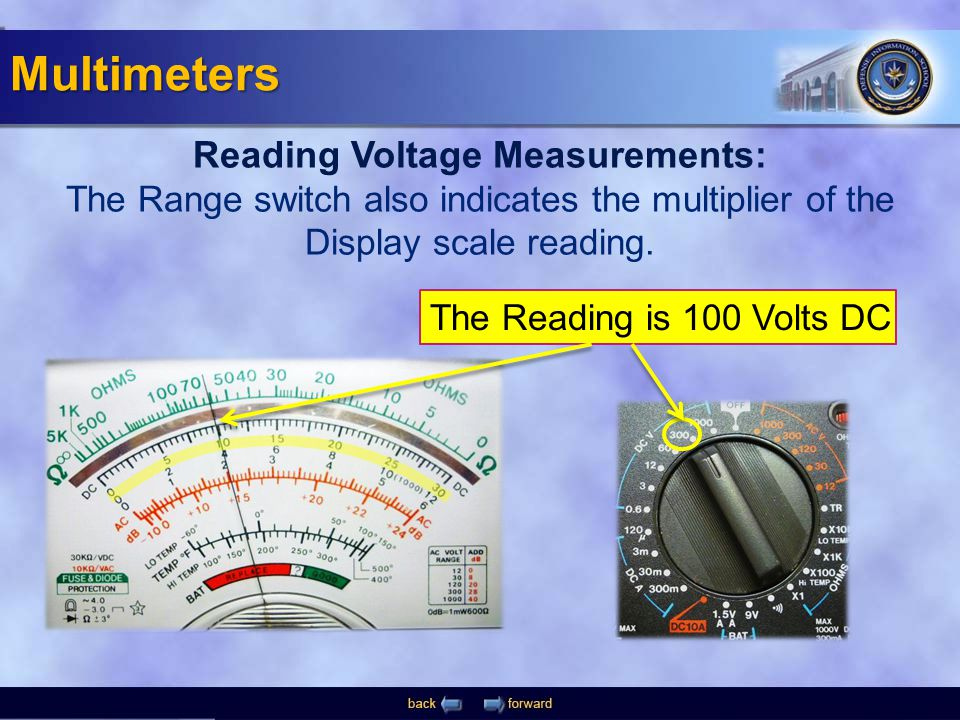 The Reading is 100 Volts DC Reading Voltage Measurements: The Range switch also indicates the multiplier of the Display scale reading. Multimeters