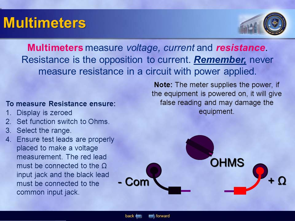 - Com + Ω OHMS Multimeters measure voltage, current and resistance. Resistance is the opposition to current. Remember, never measure resistance in a c