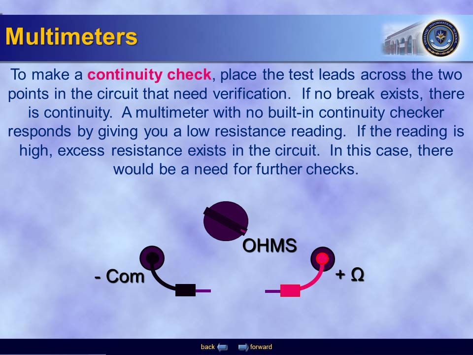 - Com + Ω OHMS To make a continuity check, place the test leads across the two points in the circuit that need verification. If no break exists, there