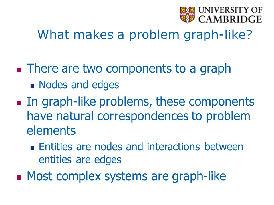Graph structures Identify interesting sections of a graph Interesting because they form a significant domain-specific structure, or because they significantly contribute to graph properties A subset of the nodes and edges in a graph that possess certain characteristics, or relate to each other in particular ways