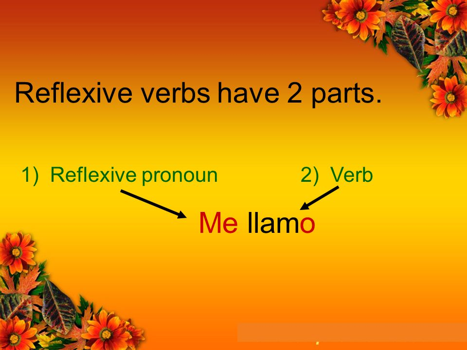 Reflexive verbs have 2 parts. Me llamo 1) Reflexive pronoun2) Verb