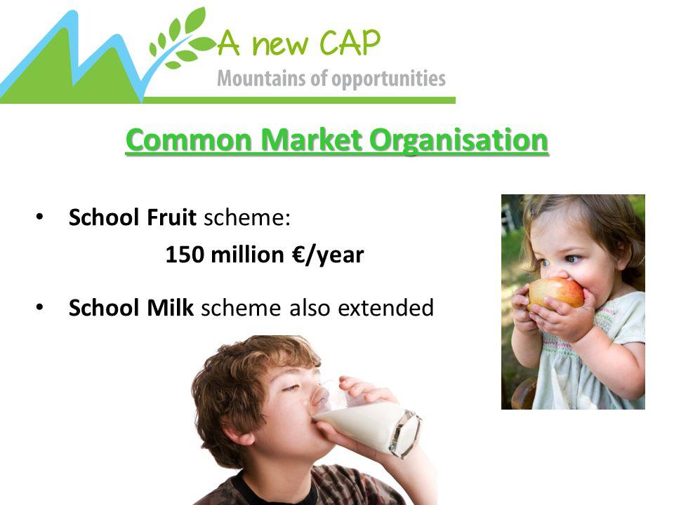 Common Market Organisation School Fruit scheme: 150 million €/year School Milk scheme also extended