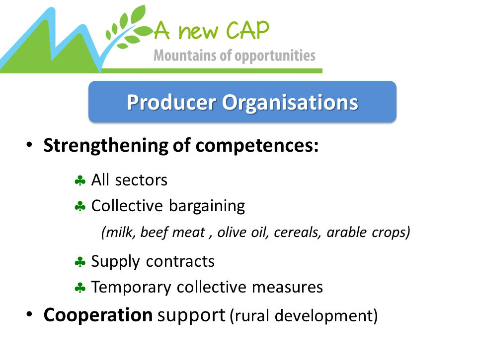 Producer Organisations Strengthening of competences:  All sectors  Collective bargaining (milk, beef meat, olive oil, cereals, arable crops)  Supply contracts  Temporary collective measures Cooperation support (rural development)