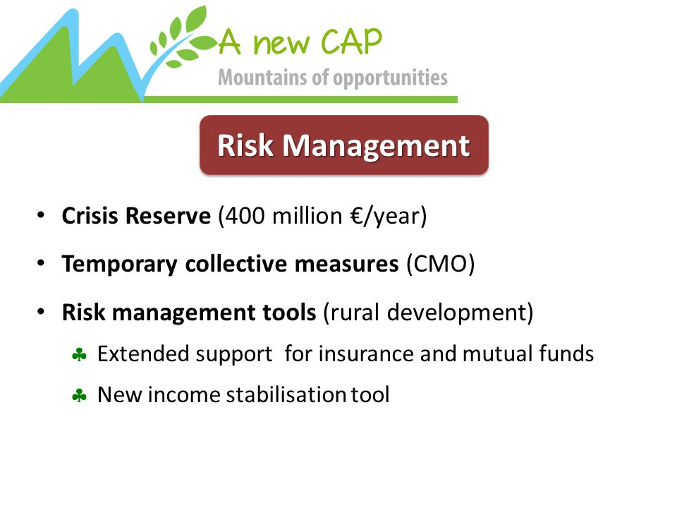 Risk Management Crisis Reserve (400 million €/year) Temporary collective measures (CMO) Risk management tools (rural development)  Extended support for insurance and mutual funds  New income stabilisation tool