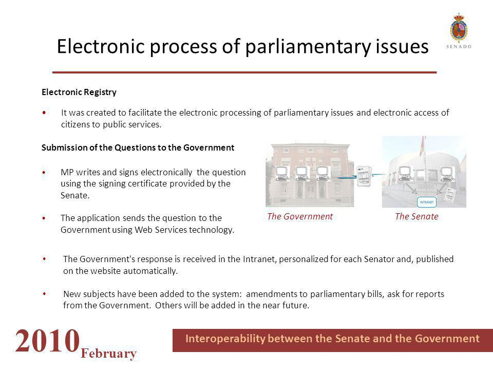 Electronic process of parliamentary issues 2010 February Interoperability between the Senate and the Government