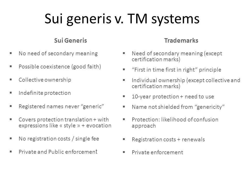 "Sui generis v. TM systems Trademarks  Need of secondary meaning (except certification marks)  ""First in time first in right"" principle  Individual"