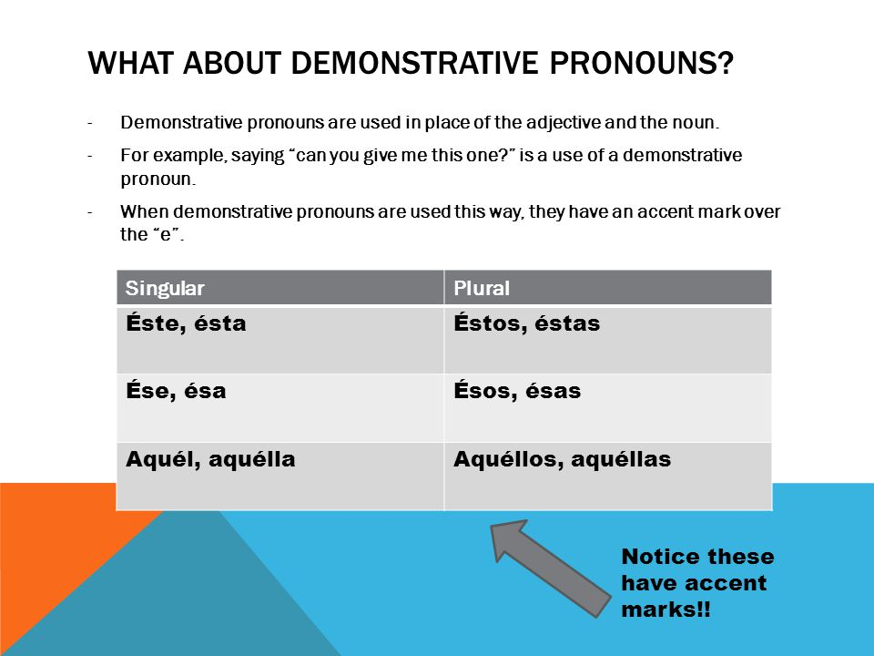 MORE DEMONSTRATIVE PRONOUNS -There are also demonstrative pronouns that refer to ideas or unidentified things.