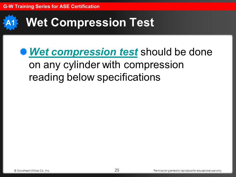 Permission granted to reproduce for educational use only. 25 © Goodheart-Willcox Co., Inc. Wet Compression Test Wet compression testWet compression te
