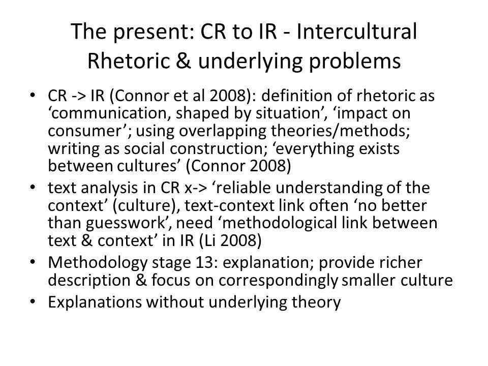 The present: CR to IR - Intercultural Rhetoric & underlying problems CR -> IR (Connor et al 2008): definition of rhetoric as 'communication, shaped by