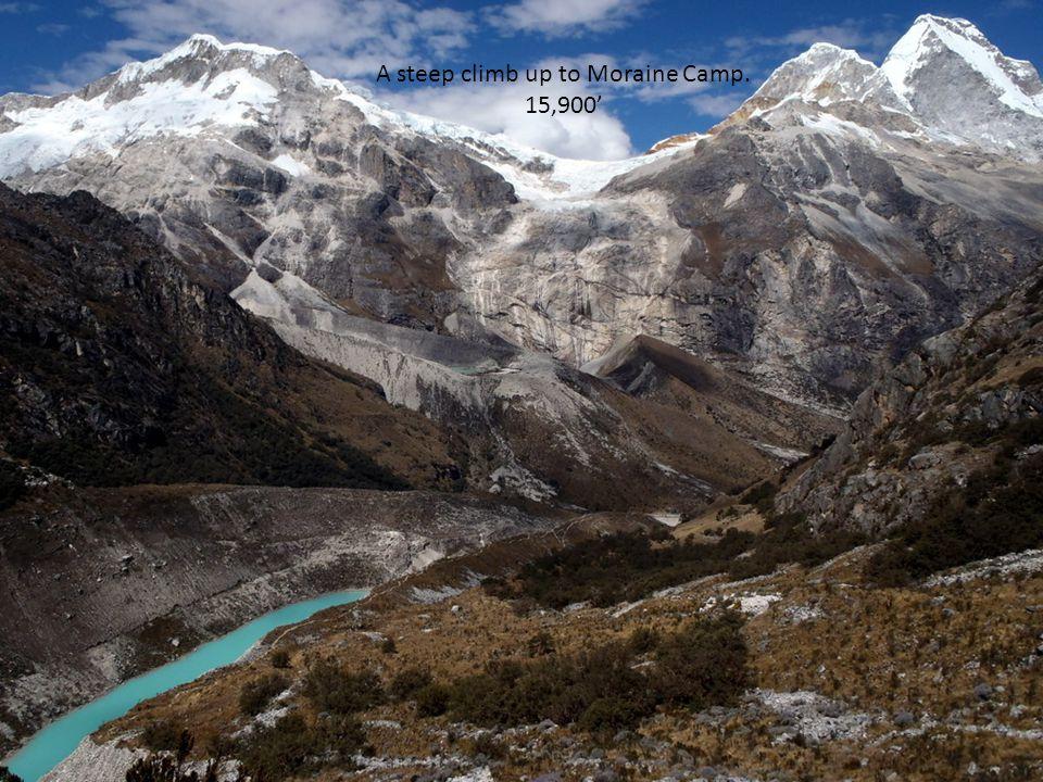 A steep climb up to Moraine Camp. 15,900'