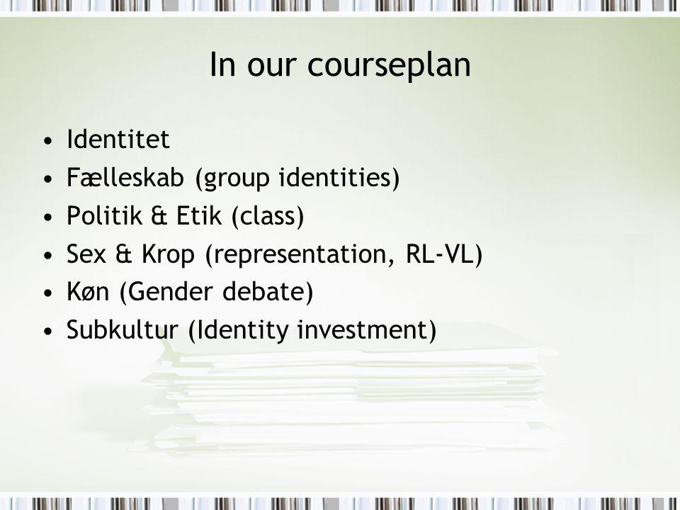 In our courseplan Identitet Fælleskab (group identities) Politik & Etik (class) Sex & Krop (representation, RL-VL) Køn (Gender debate) Subkultur (Iden