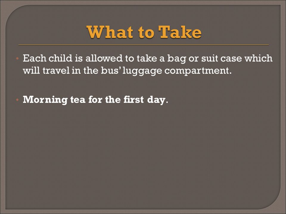 Each child is allowed to take a bag or suit case which will travel in the bus' luggage compartment.