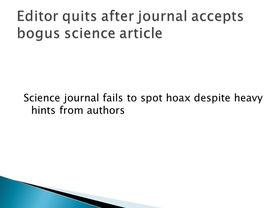 Science journal fails to spot hoax despite heavy hints from authors